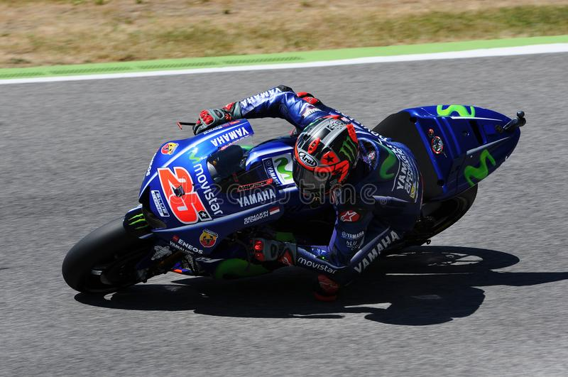 MUGELLO - ITALY, JUNE 3: Spanish Yamaha rider Maverick Vinales during the qualifying of the 2017 MotoGP OAKLEY GP of Italy. At Mugello circuit on June 3, 2017 royalty free stock images