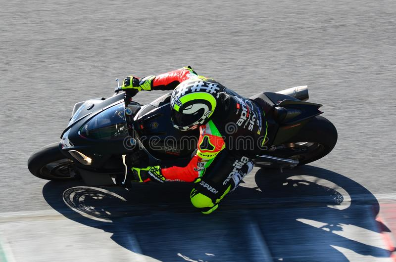Mugello - ITALY, 23 MARCH: Andrea Iannone in Action during Aprilia Days 2019 at Mugello Circuit in Italy. Mugello - ITALY, 23 MARCH: Andrea Iannone in Action stock photography