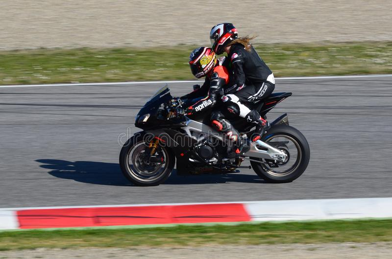 Mugello - ITALY, 23 MARCH: Max Biaggi in Action during Aprilia Days 2019 at Mugello Circuit in Italy. Mugello - ITALY, 23 MARCH: Max Biaggi in Action during royalty free stock photos