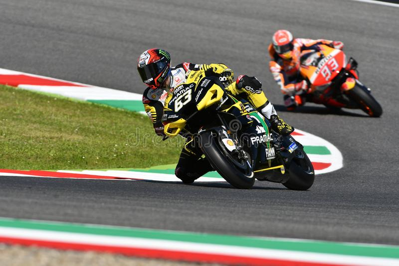 Mugello - IT?LIA, o 30 de maio de 2019: Italiano Ducati Alma Pramac Team Rider Francesco Bagnaia na a??o em GP 2019 de It?lia de  imagem de stock royalty free