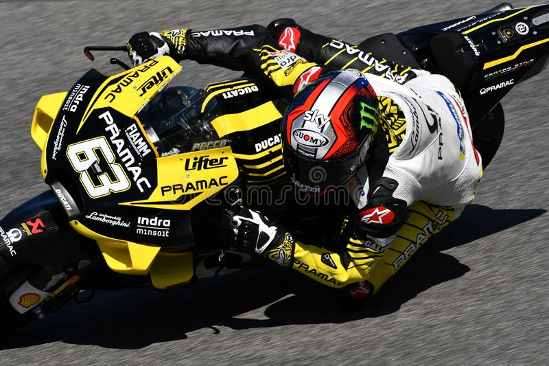 Mugello - IT?LIA, o 30 de maio de 2019: Italiano Ducati Alma Pramac Team Rider Francesco Bagnaia na a??o em GP 2019 de It?lia de  fotografia de stock royalty free