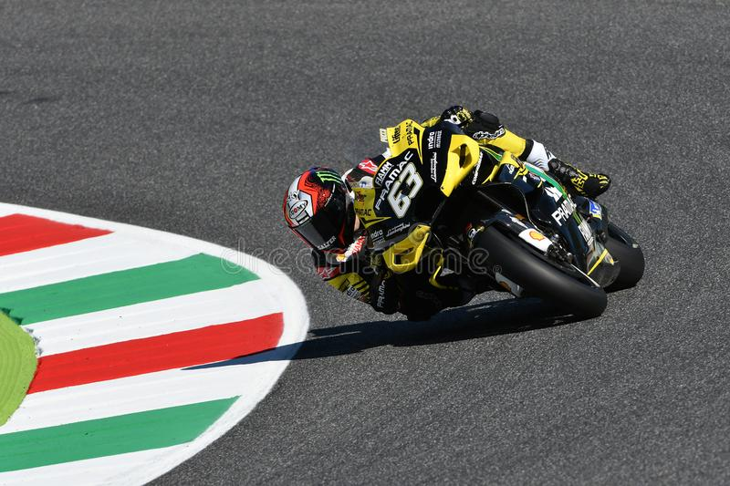 Mugello - IT?LIA, o 30 de maio de 2019: Italiano Ducati Alma Pramac Team Rider Francesco Bagnaia na a??o em GP 2019 de It?lia de  fotos de stock royalty free