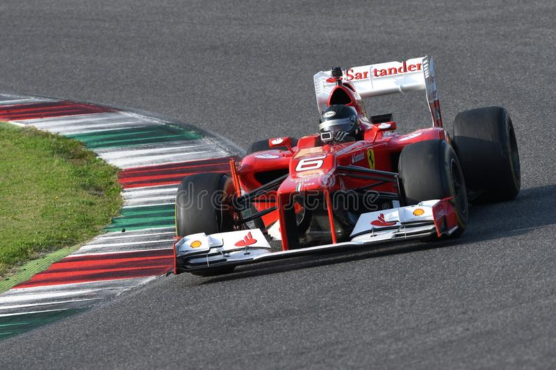 MUGELLO, IT, 24 October 2019: Ferrari F1 model F2012 in action at Mugello Circuit in italy during Finali Mondiali Ferrari 2019. royalty free stock photography