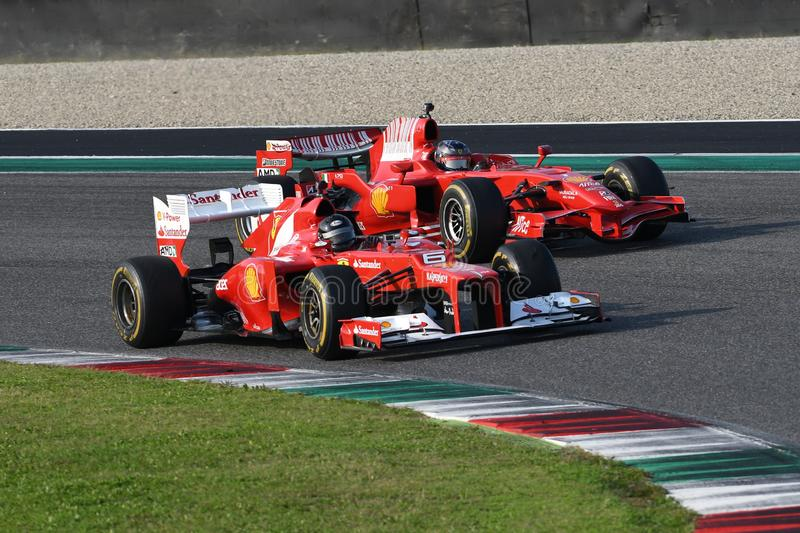 MUGELLO, IT, 24 October 2019: Ferrari F1 model F2012 in action at Mugello Circuit in italy during Finali Mondiali Ferrari 2019. royalty free stock images