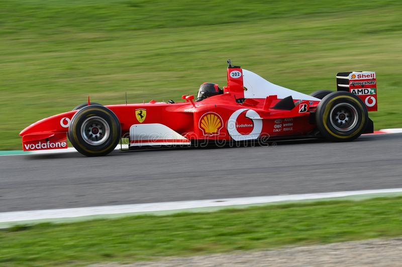 MUGELLO, IT, 25 October 2019: Ferrari F1 model F2003 GA in action at Mugello Circuit in italy during Finali Mondiali Ferrari 2019 royalty free stock photography