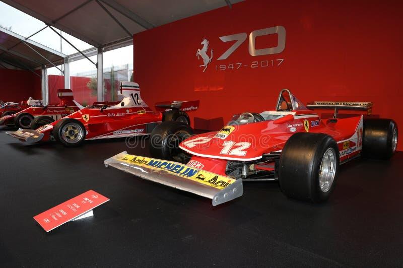 MUGELLO, service informatique, octobre 2017 : Ferrari F1 312 T4 1979 de Gilles Villeneuve et de Jody Scheckter à l'exposition de  photo stock