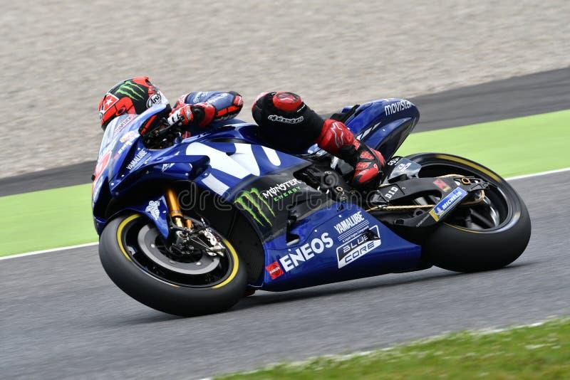 MUGELLO - WŁOCHY, 1 CZERWIEC: Hiszpańszczyzny Yamaha Movistar drużyny jeźdza indywidualista Vinales przy 2018 GP Włochy MotoGP na fotografia royalty free