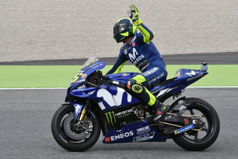 MUGELLO - WŁOCHY, CZERWIEC: Włoszczyzny Yamaha Movistar drużyny jeździec Valentino Rossi przy 2018 GP Włochy MotoGP na Czerwu, 20 fotografia stock