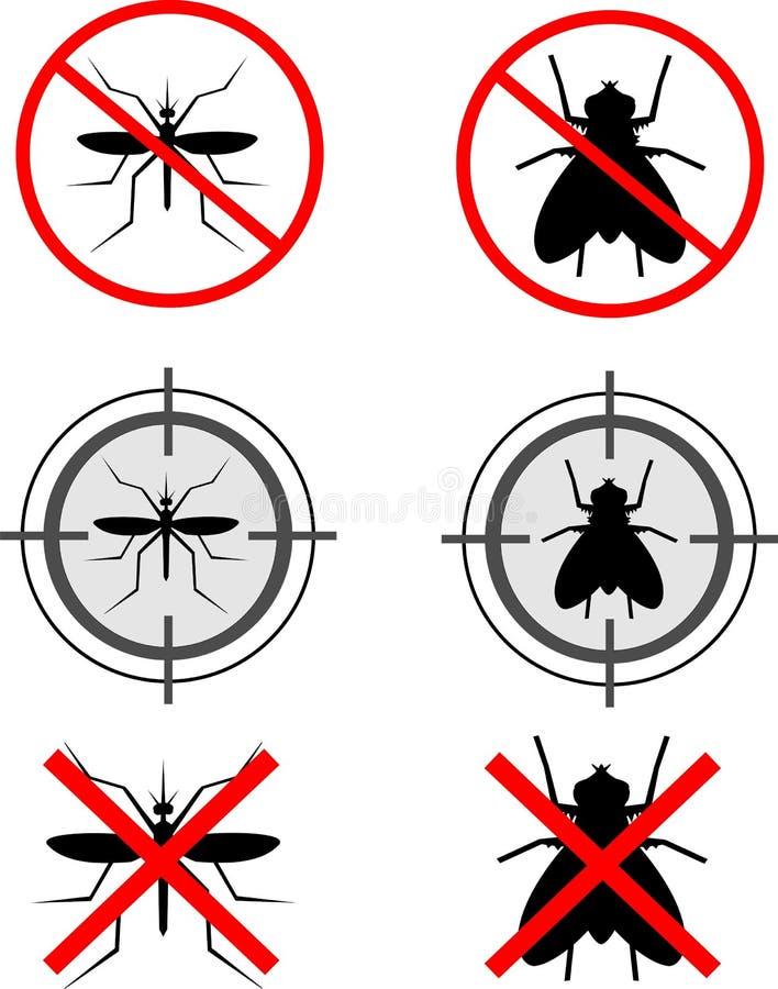 Muggen en vliegen royalty-vrije illustratie