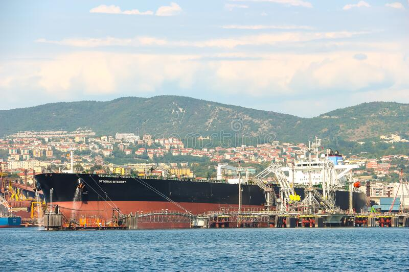 Cargo ships moored in the port of Trieste stock photos