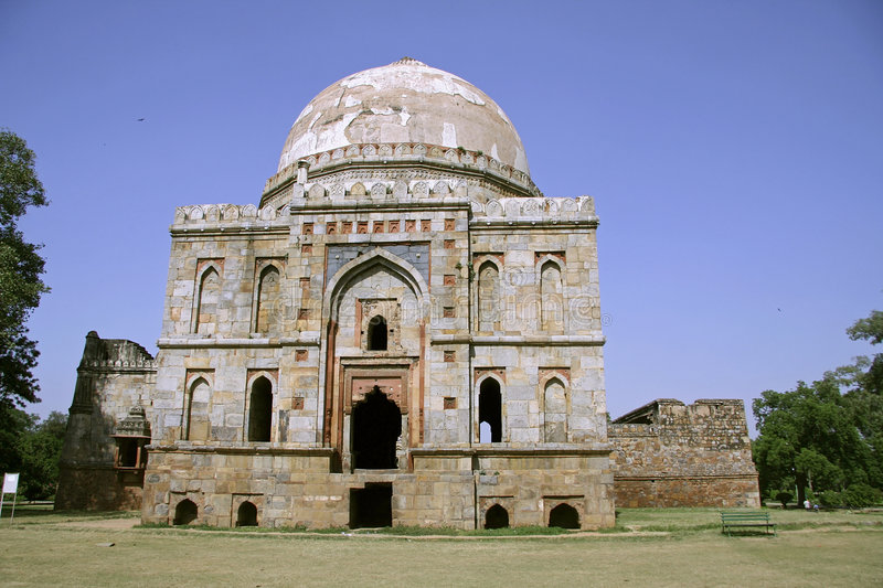 Mughal architecture at lodhi gardens stock images