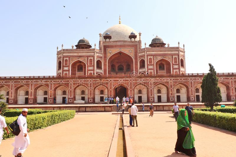 Humayun`s tomb is the tomb of the Mughal Emperor Humayun in Delhi, India. Mughal Emperor Humayun tomb was commissioned by his wife Bega Begum in 1569-70 stock photos