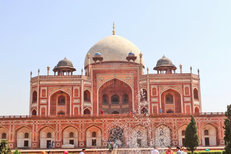 Humayun`s tomb is the tomb of the Mughal Emperor Humayun in Delhi, India. Mughal Emperor Humayun tomb was commissioned by his wife Bega Begum in 1569-70 stock photography