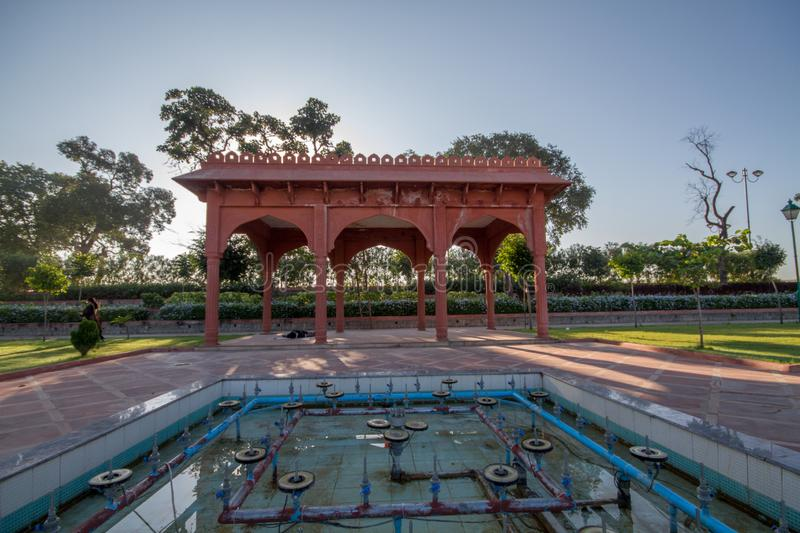 Mughal garden in Regional Park in Indore India. Walk, design, constecution, construction, liesure, concrete, tiles, trees, nature, greenery royalty free stock photos