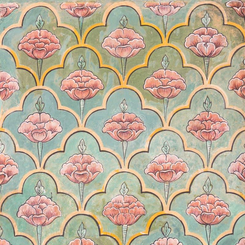 Mughalmuurschilderijen bij de stadspaleis van Jaipur royalty-vrije stock foto
