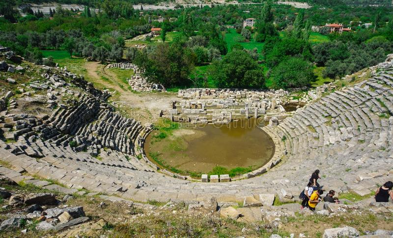 Abandoned Stratonikeia Ancient City theater. A view from the top of the stage area. City of Gladiators stock image