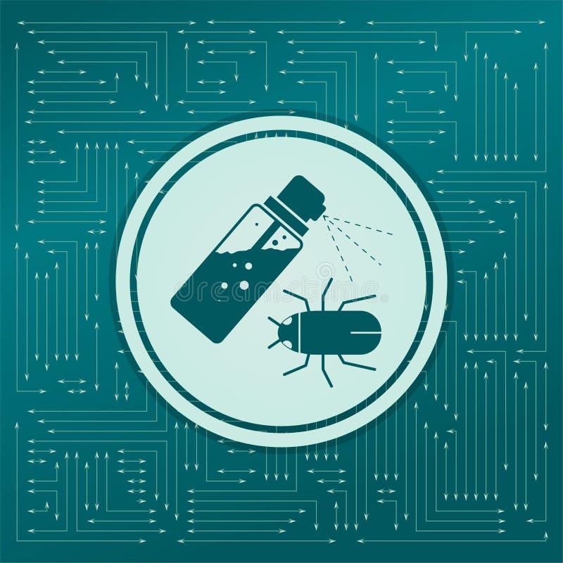 Mugnevel, Insectenpictogram op een groene achtergrond, met pijlen in verschillende richtingen Het lijkt de elektronische raad stock illustratie