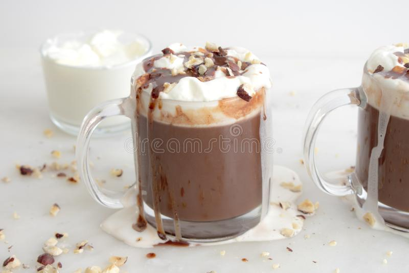 Mugs of Hazelnut Hot Chocolate royalty free stock photos