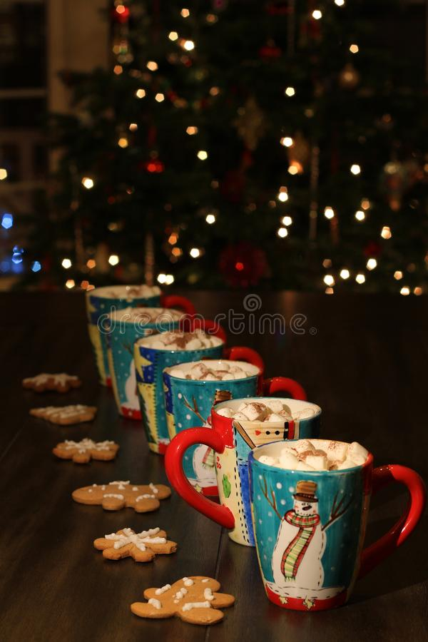 Mugs with hot chocolate and marshmallows royalty free stock photo