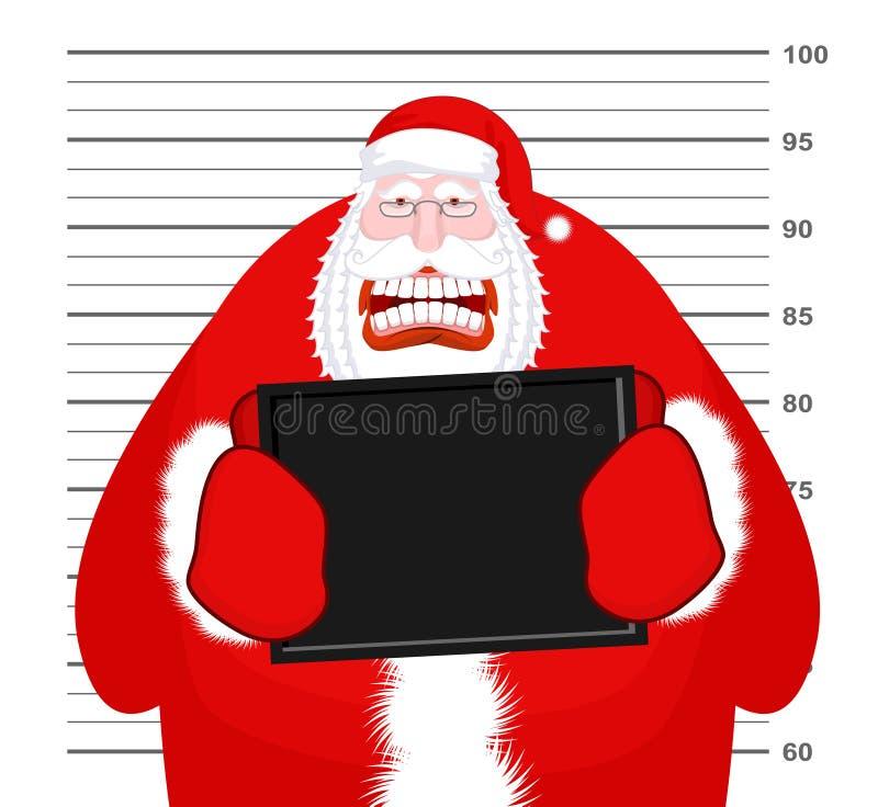 Mugshot Santa Claus en el Departamento de Policía La Navidad de la fotografía de detenido AR libre illustration