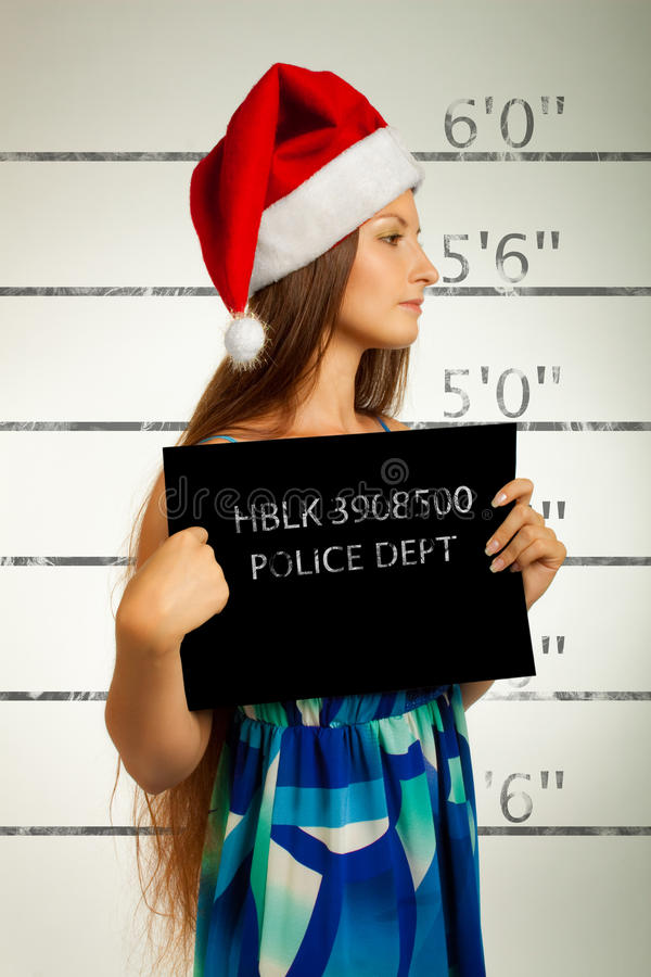 Mugshot of Santa helper royalty free stock images