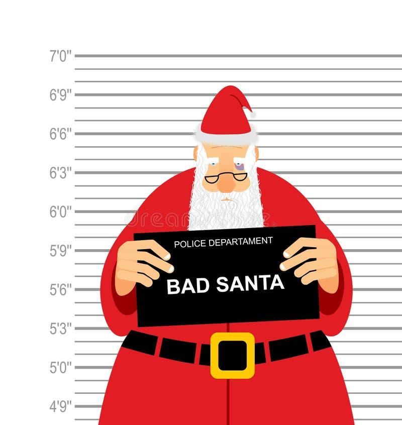 Mugshoten är dålig jultomten Arresterade Sana Claus på polisstationen royaltyfri illustrationer