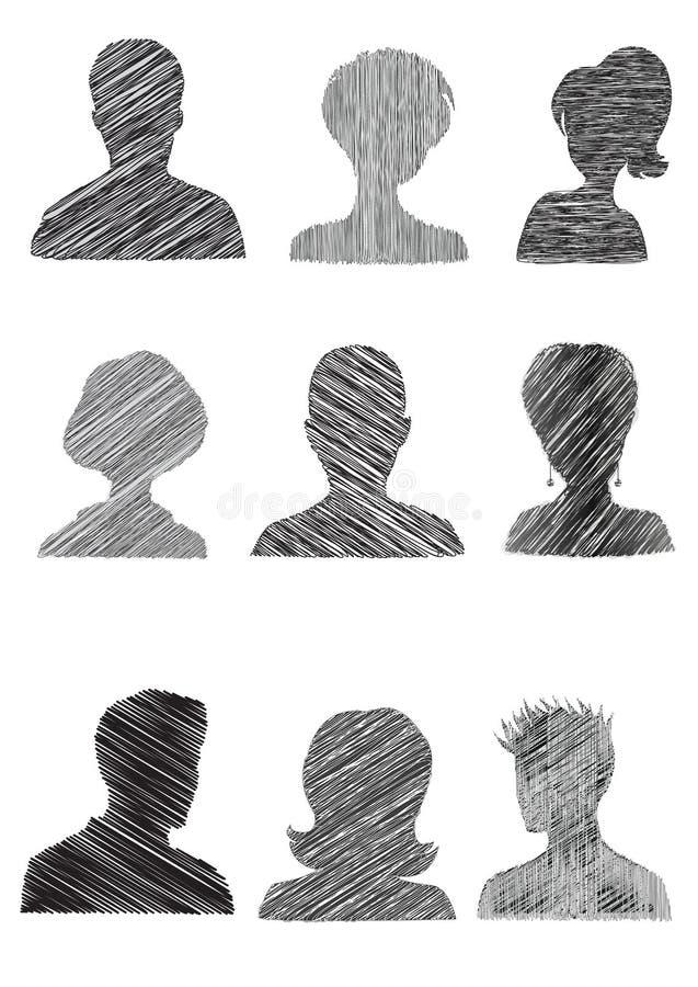 Mugshots anónimos con efecto del garabato stock de ilustración
