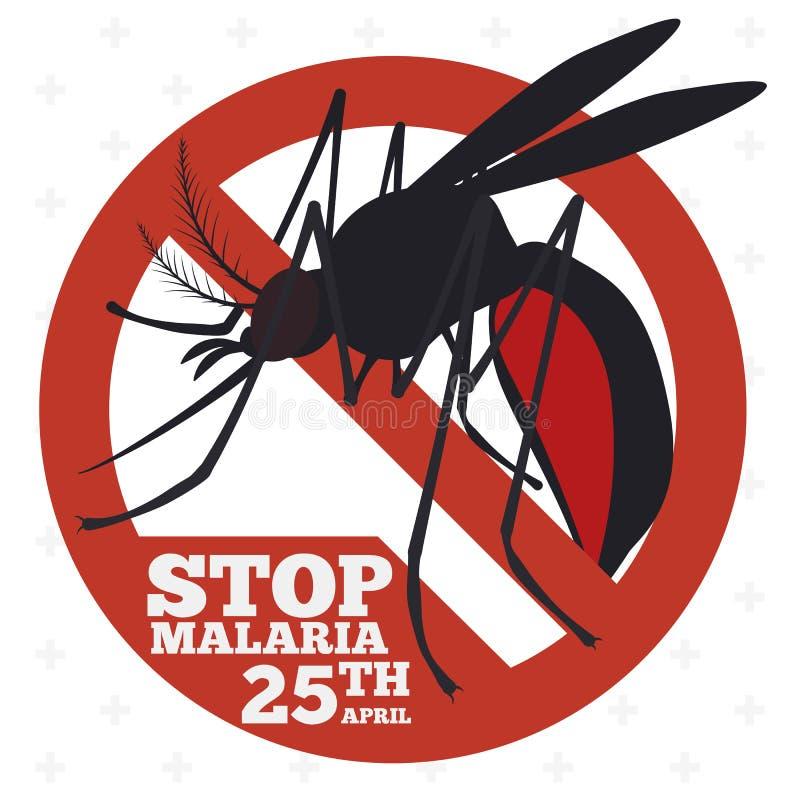 Mugteken om Malariapreventie, Vectorillustratie te bevorderen royalty-vrije illustratie