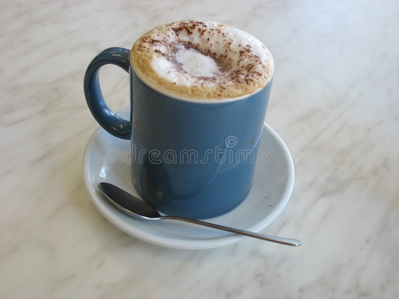 Download Muguccino stock image. Image of saucer, drink, spoon, blue - 460993