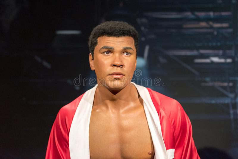 Muhammad Ali Cassius Clay wax figure at Madame Tussauds museum in Istanbul. ISTANBUL, TURKEY - MARCH 16, 2017: Muhammad Ali Cassius Clay wax figure at Madame royalty free stock image