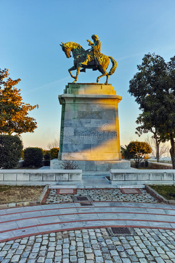 Muhammad Ali do monumento de Egito em Kavala, em Macedônia do leste e em Thrace fotos de stock royalty free