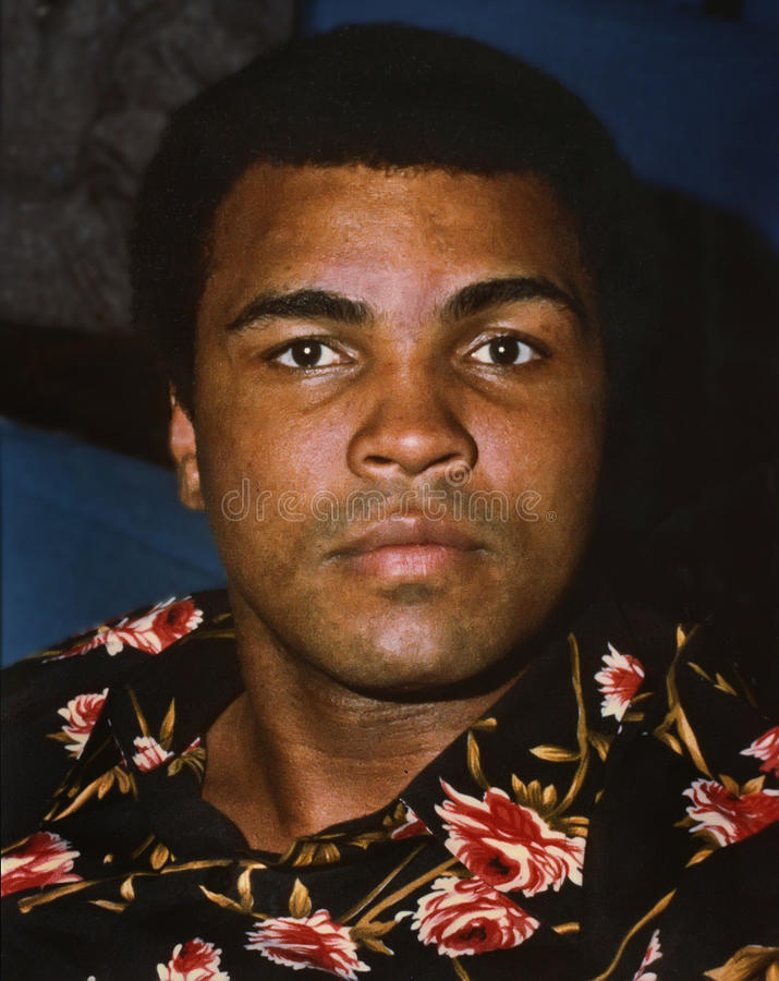 Muhammad Ali. Former world heavyweight professional boxing champion, Muhammad Ali, aka Cassius Clay, aka, The Louisville Lip, is photographed during the royalty free stock photography