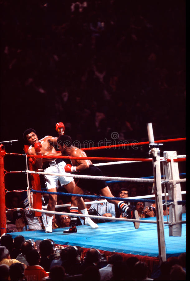 Muhammad Ali v. Leon Spinks obraz stock