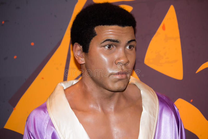 Muhammad Ali. The wax figure representing Muhammad Ali (Cassius Clay), one of the greatest heavyweights in the history of the sport, at Madame Tussaud's Museum royalty free stock image