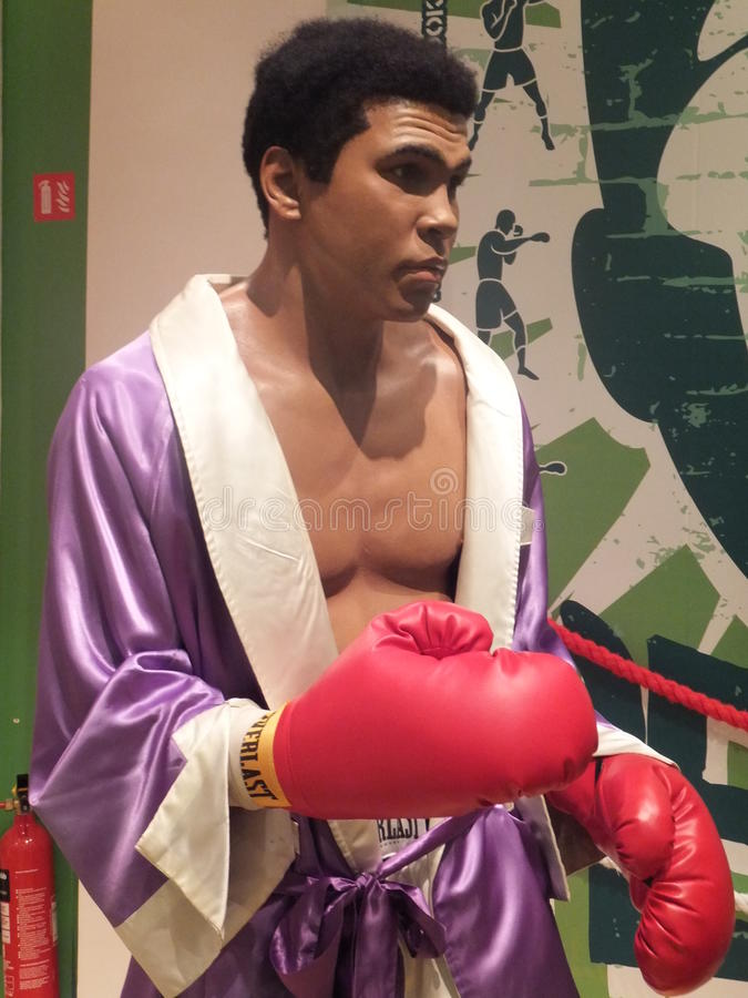 Muhammad Ali wax statue. At Madame Tussauds in London, England royalty free stock images