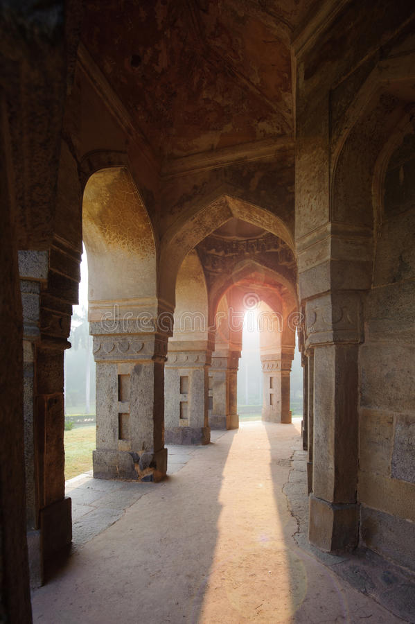 Muhammad Shah Sayyid's Tomb, view from colonnade inside. Lodi Garden Monuments, Delhi, India stock images
