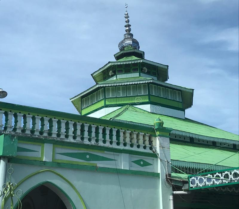 Muhammadan Mosque Padang Indonesia. Masjid Muhammadan, or Muhammadan Mosque, on the island of Sumatra in Indonesia, historic architecture constructed in 1843 and stock image