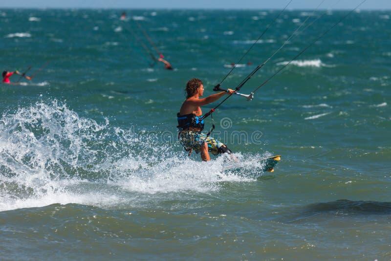 Kitesurfing or Kiteboarding stock image