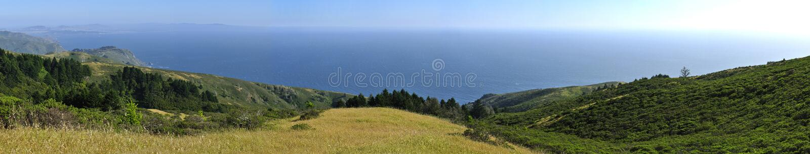 Muir woods. Panoramic view of Pacific Ocean from Muir Woods in California royalty free stock photography