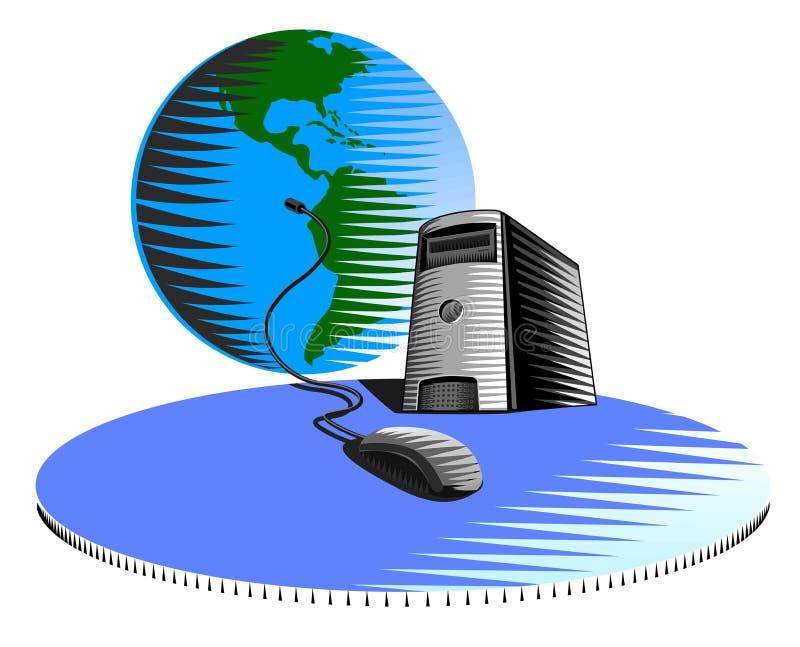 Muis die met de wereld verbindt vector illustratie
