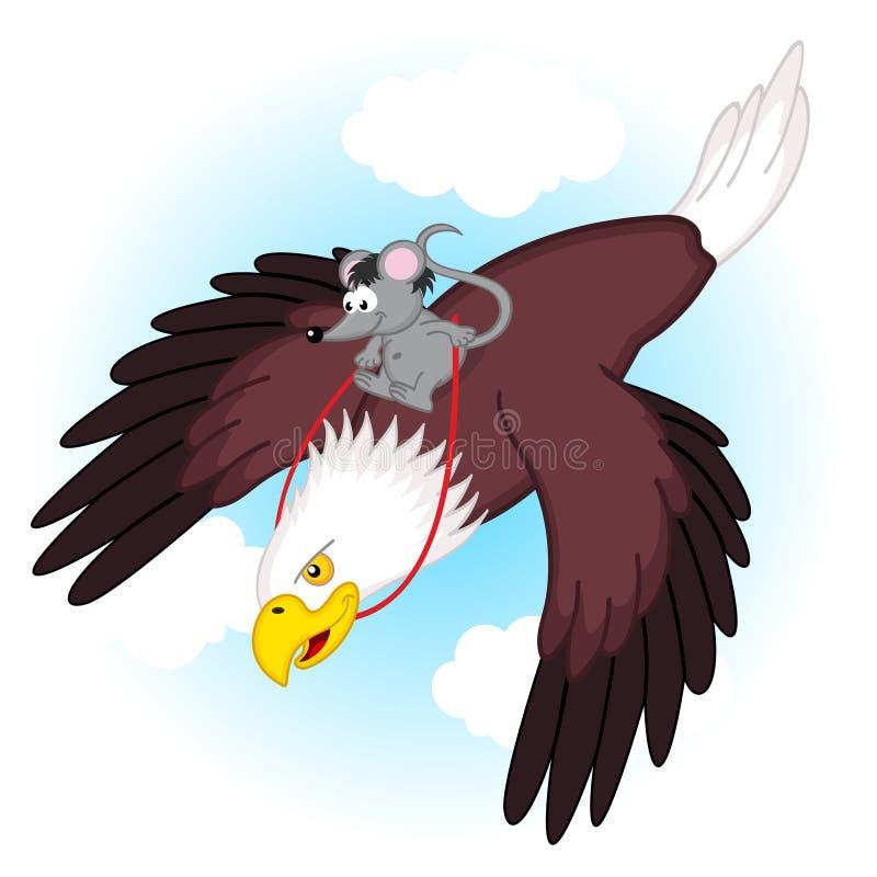Muis die op adelaar berijden vector illustratie