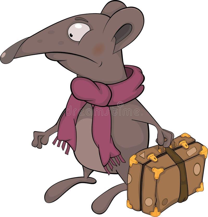 Muis en een koffer stock illustratie