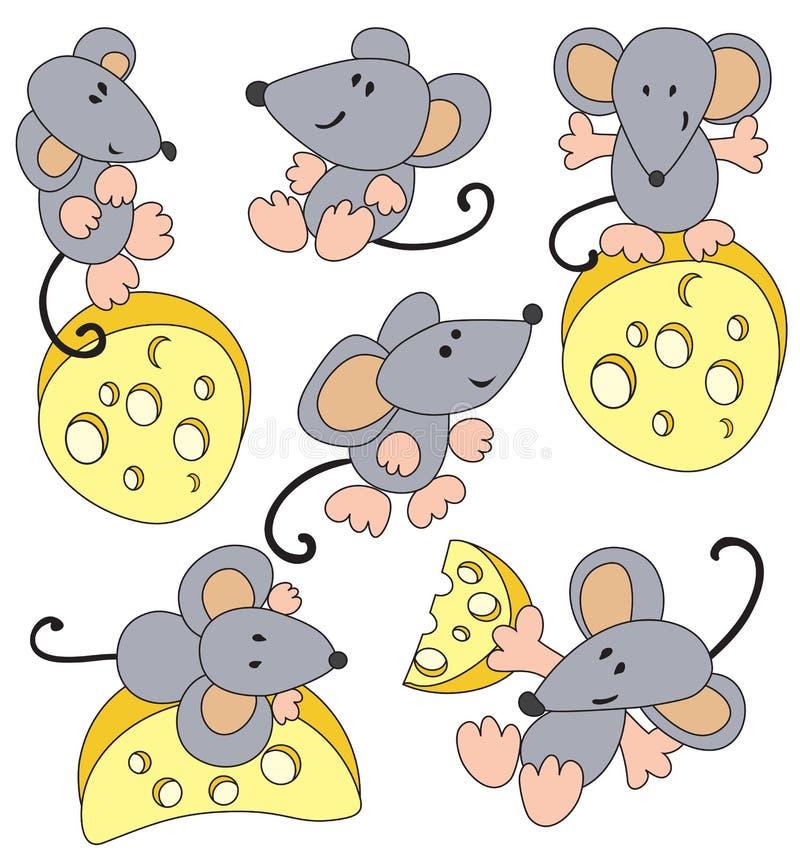 Muis en kaas stock illustratie