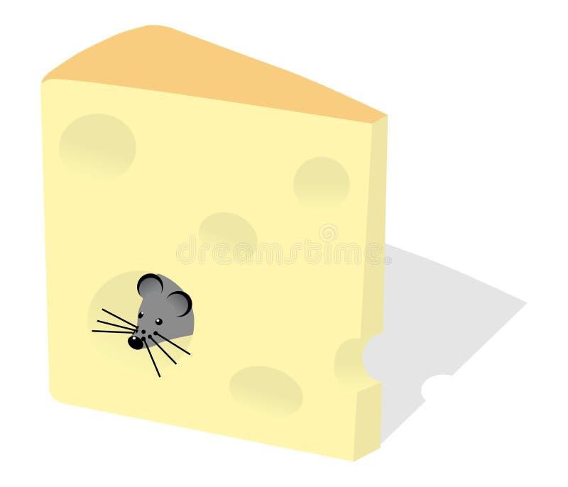 Muis en plak van kaas vector illustratie