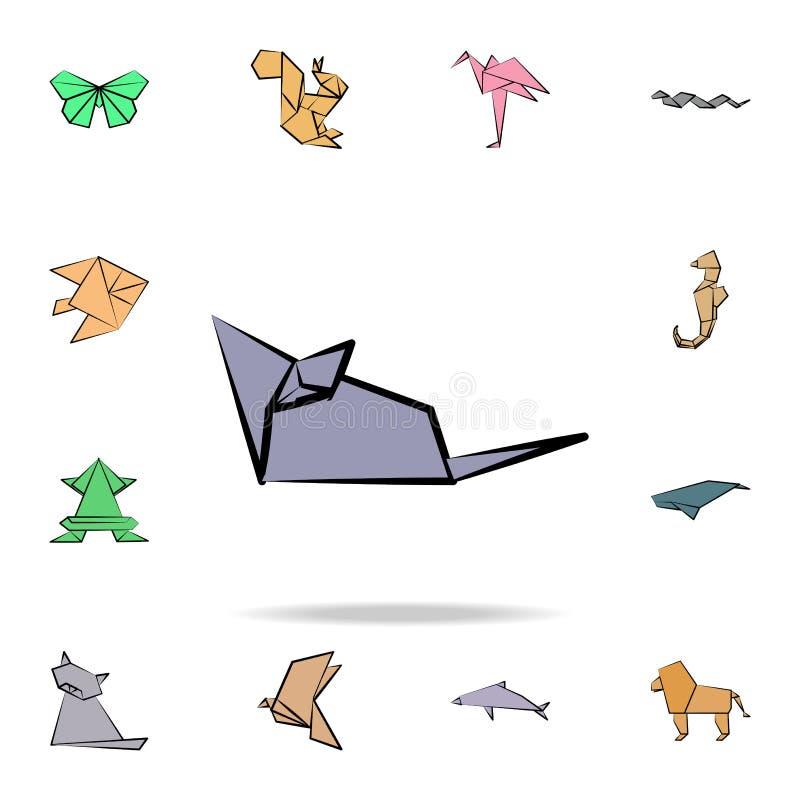 muis gekleurd origamipictogram Gedetailleerde reeks pictogrammen van de origami dierlijke in hand getrokken stijl Premie grafisch royalty-vrije illustratie