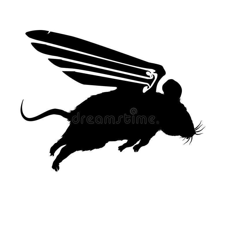 Muis grappig met vleugels die, zwart silhouet vliegen Vector pluizige illustratie op lichte achtergrond Leuk, geïsoleerd knaagdie stock illustratie