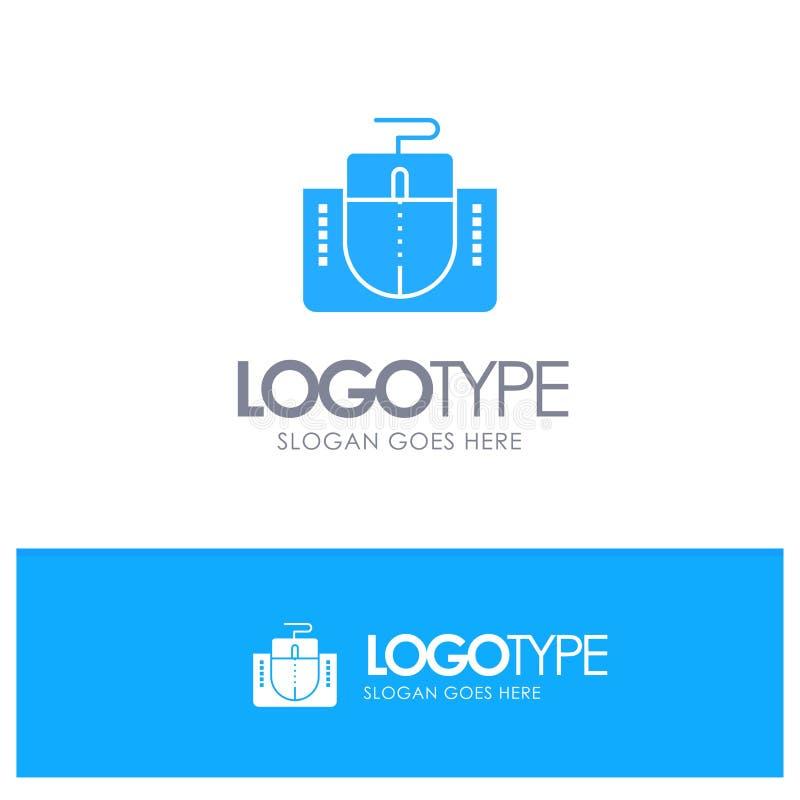 Muis, Interface, Muisinterface, Computer Blauw Stevig Embleem met plaats voor tagline vector illustratie