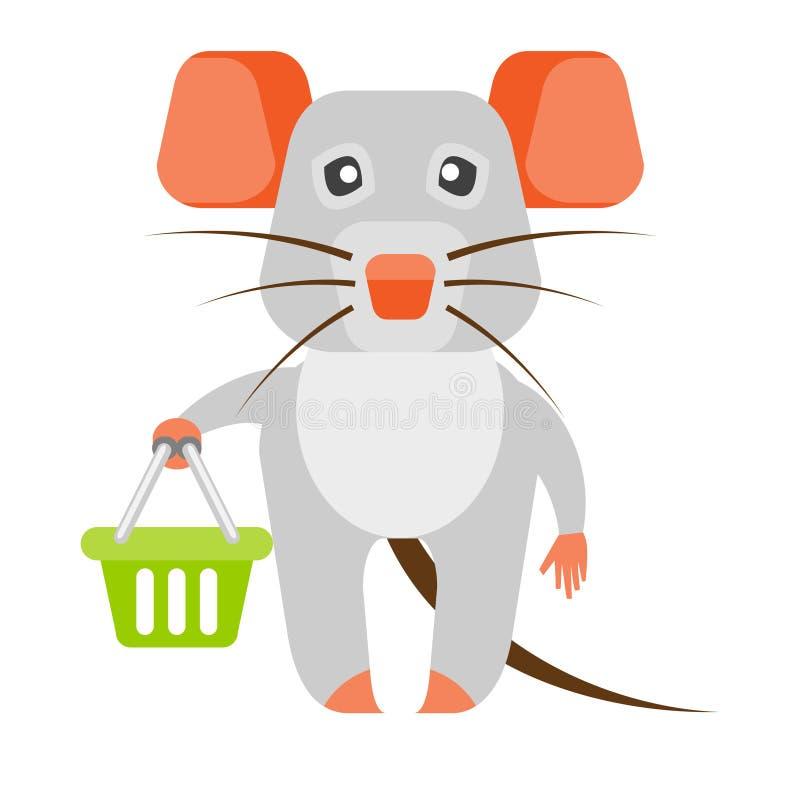 Muis met lege het winkelen mand vector illustratie