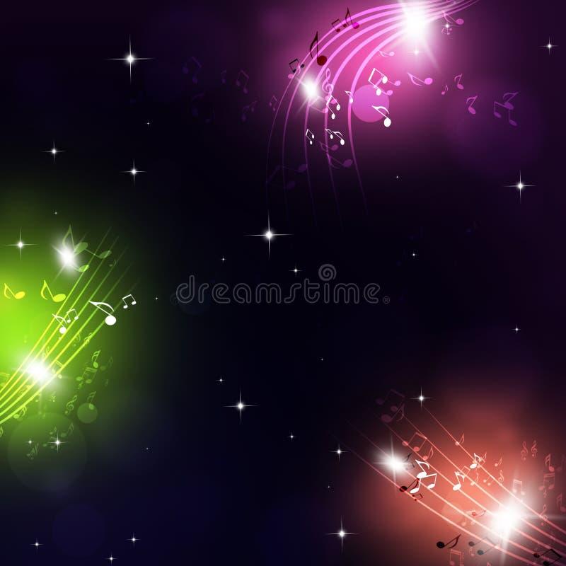 Muisc merkt hellen magischen Hintergrund stock abbildung