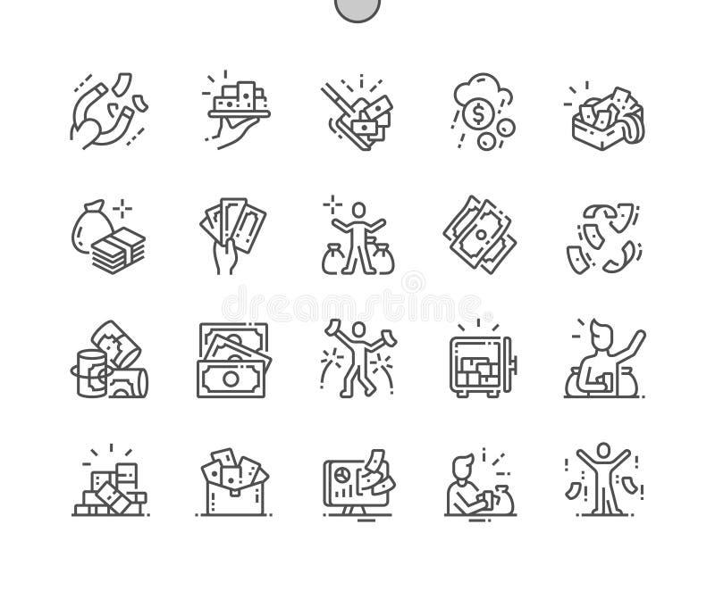 Muita do vetor perfeito bem feito do pixel do dinheiro linha fina ícones ilustração do vetor